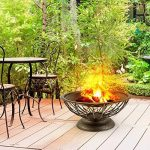Blumfeldt Tulip Brasero de jardin (foyer large de 75 cm de diamètre, grille généreuse de 60 cm pour le barbecue, coupole en métal bruni, sécurité grâce au grillage en métal) de la marque Blumfeldt image 2 produit