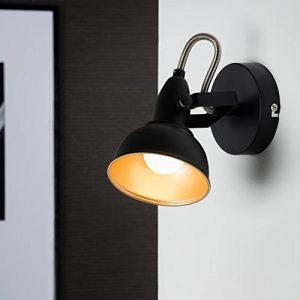 Briloner Leuchten 2049-015 Spot 2 en 1 plafonnier ou applique murale - luminaire style vintage - métal noir & or mat - douille E14-40 W max. - 15.6 x 10 x 15.6 cm de la marque Briloner Leuchten image 0 produit