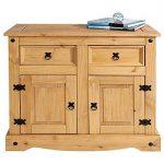 Buffet SALSA commode bahut vaisselier en bois style mexicain corona avec 2 portes battantes et 2 tiroirs, en pin massif finition cirée de la marque IDIMEX image 1 produit