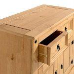 Buffet SALSA commode bahut vaisselier en bois style mexicain corona avec 2 portes battantes et 2 tiroirs, en pin massif finition cirée de la marque IDIMEX image 3 produit