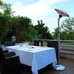 Chauffage d'extérieur parasol chauffant électrique sur pied hauteur réglable max 205cm et tête inclinable - 2100W de la marque Interougehome image 2 produit