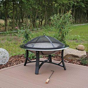 CLGarden FS2 Jardin Barbecue braséro en acier inoxydable Brasero avec grille Pare-étincelles Bol Ø 76 cm de la marque CLGarden image 0 produit