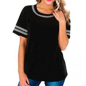 CYBERRY.M Chemise à Manches Courtes Chic Chemise T-Shirt à Feuilles Brodées Femme de la marque CYBERRY.M image 0 produit