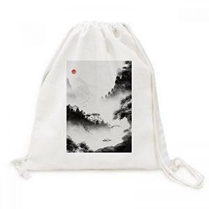 Diythinker laver Bois de chauffage de montagne chinois aquarelle sur toile Cordon de serrage Sac à dos de voyage Sacs cabas de la marque image 0 produit