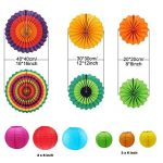 E-MANIS 12pcs pendaison fiesta papier fan des lanternes de décoration, fiesta mexicaine/carnaval/kids/anniversaire/noël decor, partie/events de la marque E-MANIS image 1 produit