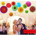 E-MANIS 12pcs pendaison fiesta papier fan des lanternes de décoration, fiesta mexicaine/carnaval/kids/anniversaire/noël decor, partie/events de la marque E-MANIS image 4 produit