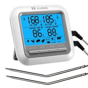 Habor Thermomètre de Cuisson Numérique, Double Sondes Inox avec LCD Écran, Thermomètre de Viande avec Minuterie, Thermomètre Cuisine pour Viande, Four, Fumeur, Grill, BBQ, Patisserie, Eau Chaud, Chocolat de la marque HABOR image 0 produit