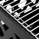 Harima Perun Braséro carré en métal avec grille de barbecue de jardin de jardin et grillage contre les étincelles Housse contre la pluie Brûleur à bois Usage extérieur Style moderne - Noir de la marque Harima image 3 produit