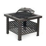 IKAYAA Brasero de Jardin Brasero Barbecue de Table en Métal avec Couvercle Puits de feu Foyer Rectangulaire Cheminée Extérieure de Foyer et Barbecue 66 X 66 X 49 cm de la marque IKAYAA image 6 produit