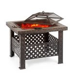 IKAYAA Brasero de Jardin Brasero Barbecue de Table en Métal avec Couvercle Puits de feu Foyer Rectangulaire Cheminée Extérieure de Foyer et Barbecue 66 X 66 X 49 cm de la marque IKAYAA image 1 produit