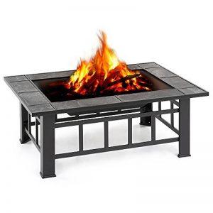 IKAYAA Brasero de Jardin Brasero de Table en Métal avec Couvercle Puits de feu Foyer Rectangulaire Cheminée Extérieure de Foyer et Barbecue 94 X 71 X 35 cm de la marque IKAYAA image 0 produit