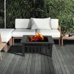IKAYAA Brasero pour Jardin Terrasses BBQ Brasero Ménager Barbecue 81 * 81 * 36cm avec couvercle Firepan et barbecue + barbecue de la marque IKAYAA image 6 produit