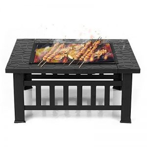 IKAYAA Brasero pour Jardin Terrasses BBQ Brasero Ménager Barbecue 81 * 81 * 36cm avec couvercle Firepan et barbecue + barbecue de la marque IKAYAA image 0 produit