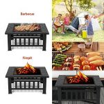 IKAYAA Brasero pour Jardin Terrasses BBQ Brasero Ménager Barbecue 81 * 81 * 36cm avec couvercle Firepan et barbecue + barbecue de la marque IKAYAA image 2 produit