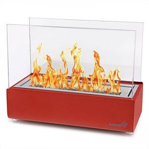 Ivation Vent moins Compact Cheminée de table–Rouge Portable en acier inoxydable Bio éthanol Fire Place pour l'intérieur et l'extérieur avec décoration Cheminée, Bidon à essence et flammes Extincteur de la marque Ivation image 0 produit