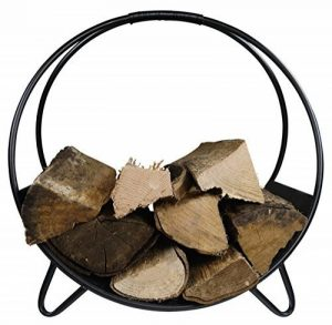 Khevga Panier en bois de cheminée métal noir moderne rond de la marque khevga Panier à bûches de cheminée en métal noir moderne rond image 0 produit