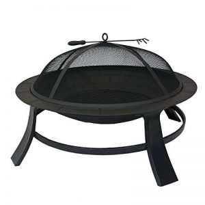 Métal fire bowl 76cm feu de camp noir grill barbecue feu panier grill jambes de poker robustes capuchon de protection bouchon d'allumage de la marque Home&Decorations image 0 produit