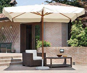 PEGANE Parasol centré rectangulaire 3 x 4 m coloris bois teck polyester 230 gr- A USAGE PROFESSIONNEL de la marque PEGANE image 0 produit