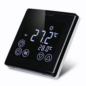 WELQUIC Thermostat d'Ambiance Numérique Programmable à Grand Ecran Tactile LCD Rétroéclairé pour Réglage Chauffage Electrique, 85-250VAC 50/60HZ (Noir) de la marque WELQUIC image 0 produit